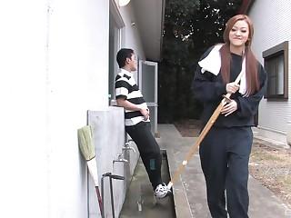 jAPANESE BRUNETTE TEEN An Umemiya sucks her friends cock
