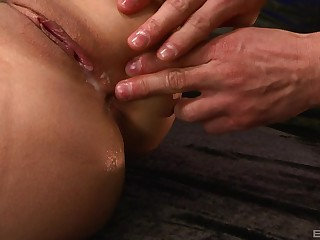Shaved pussy of Japanese MILF babe creampied on the bed