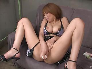 Solo amateur full-grown Japanese brunette masturbates with toys