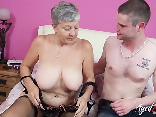 Elderly and young of age hardcore action with busty lady Savana