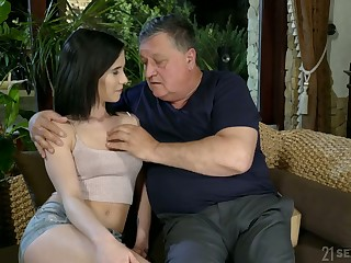 Superannuated fart enjoys fucking lovely young brunette Nikki Fox and cums in her mouth