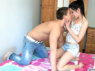 Estimable ass Anyutka juicy pussy licked while she moans