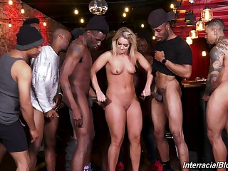 Blonde MILF floosie gangbanged and cum sprayed by big black dicks