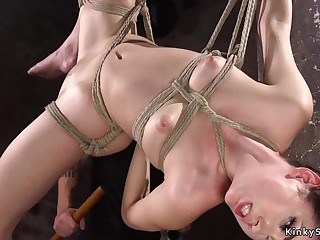 Darkhaired Babe arse whipped and gagged hogtie