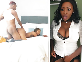 Young ebon have sex while stepmom in stealthful