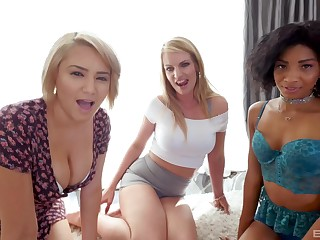 Interracial foursome with September Reign and her friends on four guy