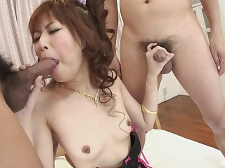 Hardcore MMF trilogy with a Japanese beauty penetrated hardcore