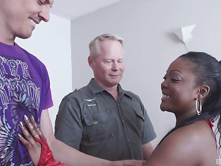 Hardcore interracial MMF threesome with ebony Raylene getting curvaceous