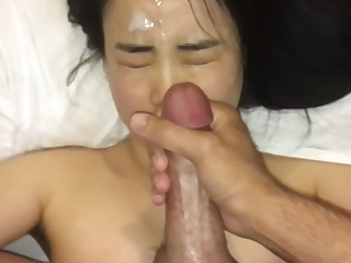 cute asian girl loves cum on their way face as a result much