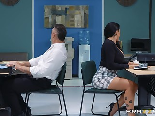 sexy secretary Romi Rain adores hard fuck surrounding her accessary in her office