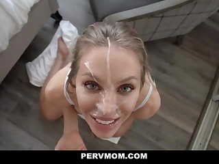 PervMom - Big-Breasted Blond Hair Girl Cougar Seduces Her Husband's Son