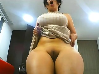 BBW Arab amateur comprehensive fingers herself on webcam
