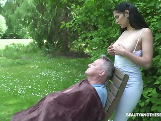 18 yo sitter Ava Black gives a blowjob to old fart and gets laid in the reciprocal
