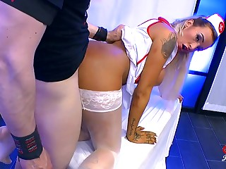 Nasty nurse taking horseshit increased by cumshots round a group scene