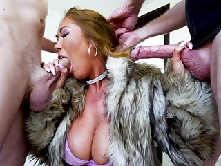 Asian MILF in furs Kianna Dior gets gangbanged