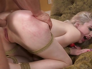 Tied up pale bitch Lexi Lore deserves really brutal doggy anal fuck