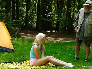 Blondie Lovita Fate is fucked steadfast wits kinky geezer in the forest
