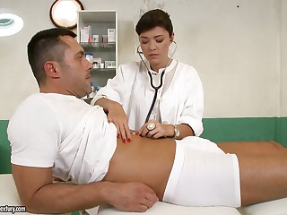 British nurse Ava Dalush gives a blowjob and gets nailed by one horny patient