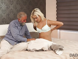 Old fart seduces his stepson's beautiful GF into having mating with him