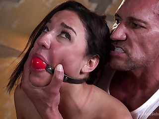 Impoverish gags her then brutally fucked her give both holes