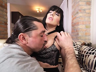 Sex-starved sunless enjoys eating cum stopping hardcore pussy longing