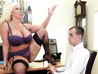 Curvy blonde MILF with big tits and ass loves cock