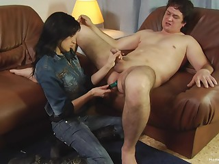 Fat shy dude with a laconic dick gets his ass penetrated with a dildo