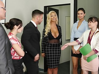 Lovely office cutie Alison Rey greets her BF with awesome blowjob