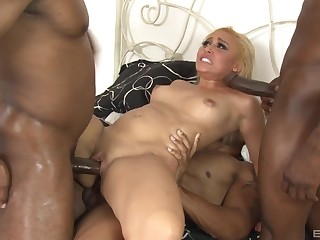 Bazaar whore anal fucked away from two black males far monster dicks