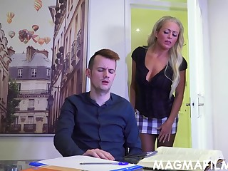 A very naughty MILF tutor Rebecca Smyth fucks her horny partisan