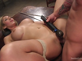 Obedient flaxen-haired gets the dick in all respects possible modes increased by holes