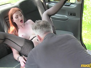 Fuck the ginger coupled with cum on her hard nipples
