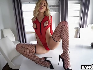 Astonishing babe with a nice, round ass is wearing black fishnets in the long run b for a long time getting a good fuck