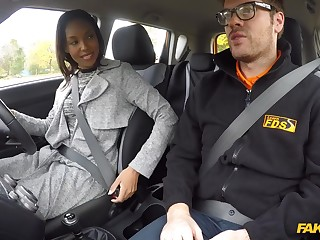 Ebony pornstars get fucked by a fake cab driver plus instructor