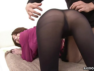 Slutty Jap cowgirl Riko Miyase is procure riding team a few cock while sucking more