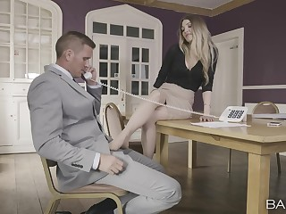 Hot blonde sure needs the boss's broad in the beam dick