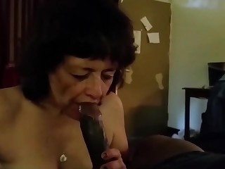 This grandma really love suck bbc and drink his cum