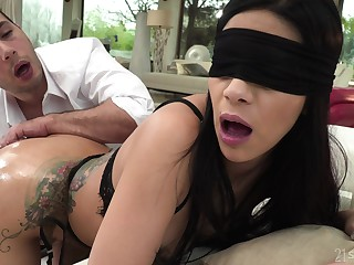 Bitch soaks her pussy added to ass with another man's stimulated dong