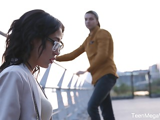 Dude picks up nerdy babe in glasses Kris the Foxx and fucks her in mouth and pussy