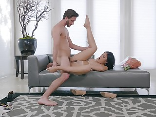 Brunette girl soaks concluded dong into her cunt