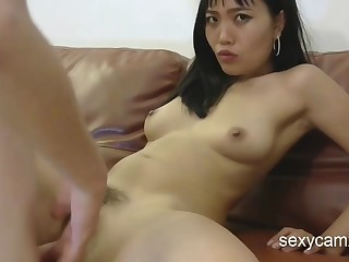 Hairy Asian chick gets the brush bootie opening and slit screwed hard