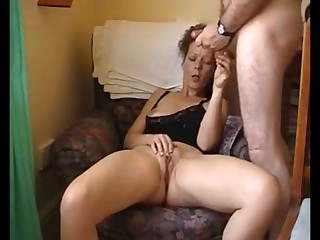 Hot brunette milf masturbating while hubby watch