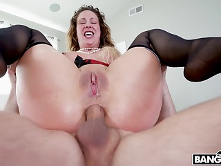 Rough pussy and aggravation fucking by two dudes makes Cherie Deville cum