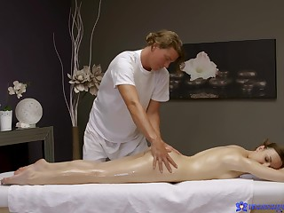 Slim honey gets a proper dick ramming her cunt at near massage