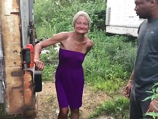 Outdoor interracial round granny