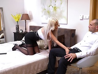 Busty secretary follows her VIP hither a hotel room where they fuck