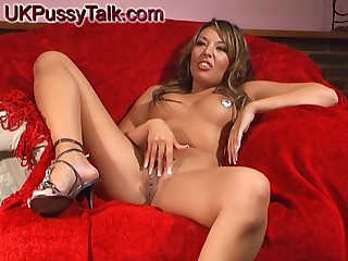Brunette chick Rio Lee tries out a new toy exposed to her tight pussy