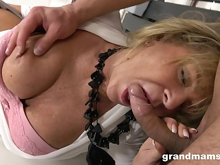 Cast off big titted GILF fucks a sex-crazed chap with undisguised love