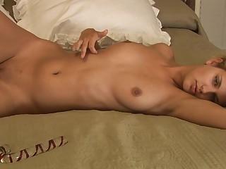 XXX blonde babe masturbating solo in nook