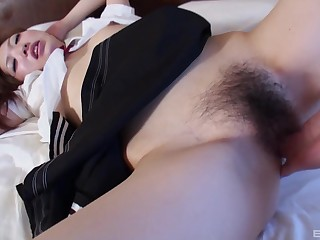 Closeup amateur motion picture be beneficial to hairy pussy neonate Kana Fujishiro having sex
